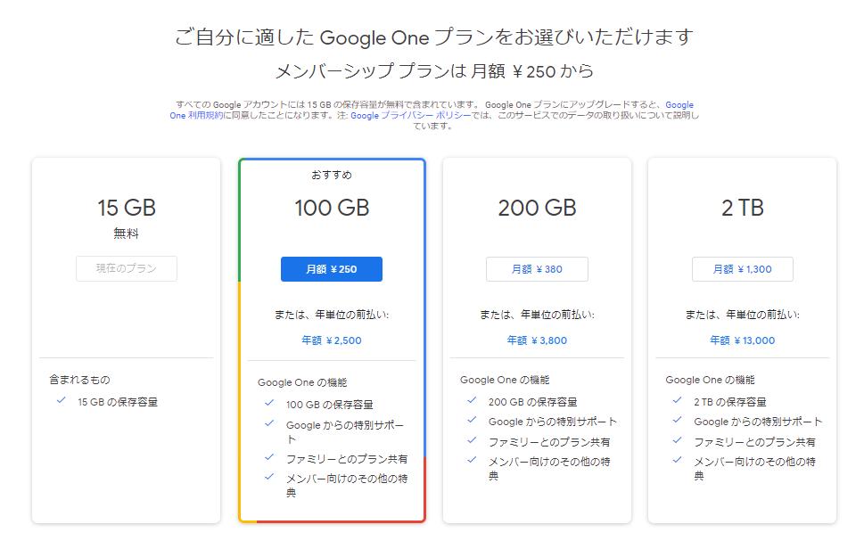 GoogleOneプラン変更